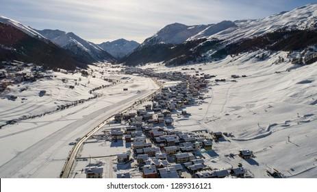 Village of Livigno, panoramic view. Ski station in the Italian Alps