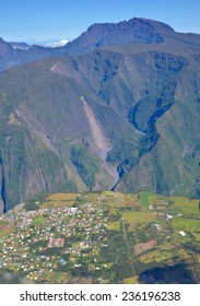 Village in Mafate Reunion Island near canyon overlooking Piton Des Neiges Mountain