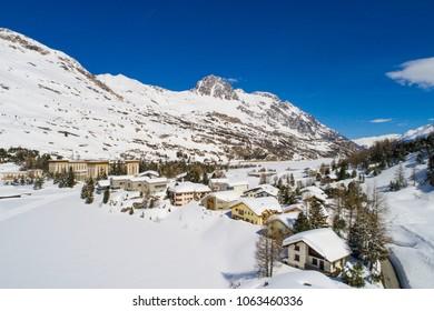 Village of Maloja, Engadine Valley in winter season