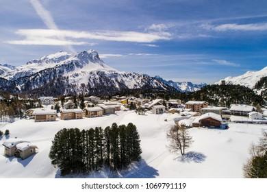 Village of Maloja, mountain valley in the Swiss Alps