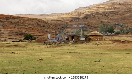 Village in the maloti hills, Lesotho