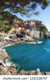 Village of Manarola in Cinque Terre at italian Riviera,Liguria,mediterranean Sea,Italy