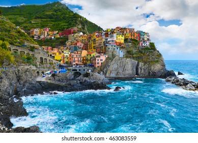 Village of Manarola, on the Cinque Terre coast of Italy, june 2016