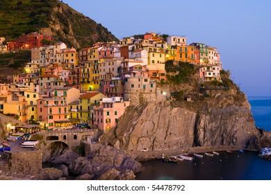 Village of Manarola at sunset, Cinque Terre, Liguria, Italy