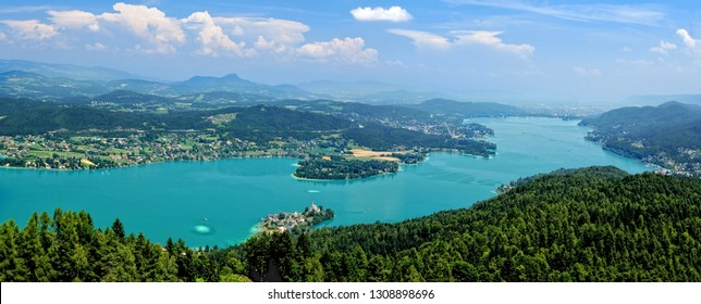 Village Maria Worth on the lake Worthersee in Carinthia,Austria