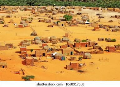 Village of Mhaireth and oasis, Adrar Plateau and Atar Area and desert, Mauritania, Africa