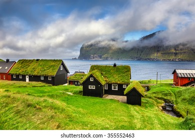 Village of Mikladalur located on the island of Kalsoy, Faroe Islands, Denmark