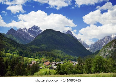 Village Mojstrana below Julian Alps, Slovenian alps, Slovenia, Europe
