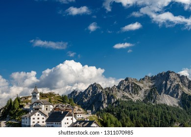 Village of Monte Lussari (1790 m) in the Italian Alps. Tarvisio, Friuli Venezia Giulia, Italy, Europe