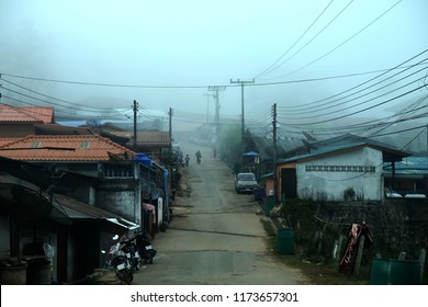 The village in the morning mist. Rural life in Asia, Chiang Mai, Thailand.