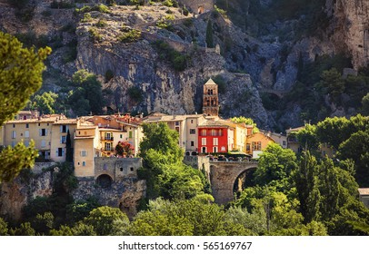 The Village of Moustiers-Sainte-Marie, Provence, France