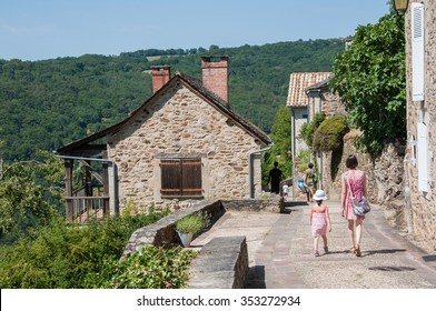 Village of Najac, build on a hill, in Aveyron (France)