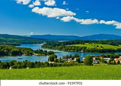 village near lake