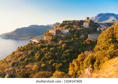 Village of Nonza Corsica France at sunset