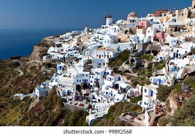 Village of Oia and the caldera at Santorini island in aegean, Cyclades, Greece
