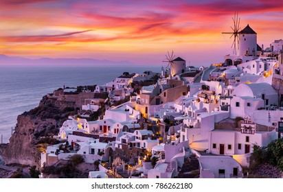 The village of Oia on Santorini island in Greece during a romantic, red sunset