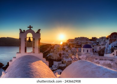 Village of Oia at sunset, Santorini, Greece