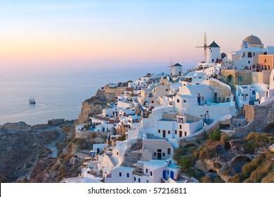 Village of Oia at Twilight, Santorini, Greece