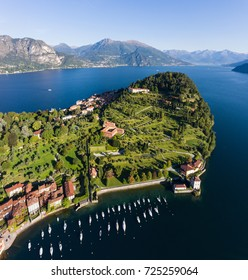 Village on Como lake in Italy, aerial view