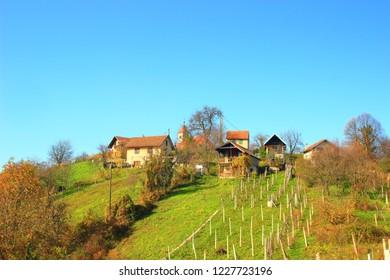 Village on hill near town Samobor, Croatia
