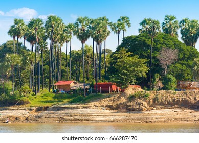 The village on the Irrawaddy river Irrawaddy, Mandalay, Myanmar, Burma. Copy space for text
