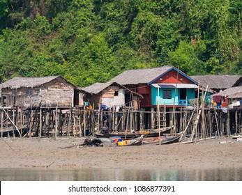 Village on Kala Island at the Myeik Archipelago, formerly the Mergui Archipelago, in the Tanintharyi Region of Myanmar.