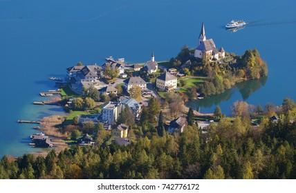 The village on the peninsula Maria Woerth at the Lake Woerth Carinthia Austria