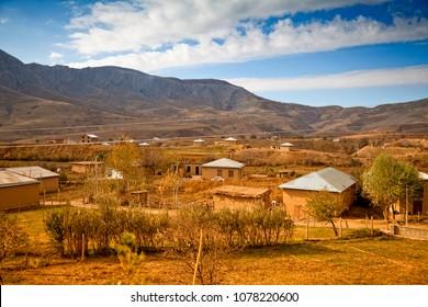 Village on a plato. Landscapes of Middle Asia (Uzbekistan)