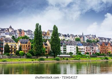 Village on the Rhine River near the Rhineland-Palatinate region in Germany.