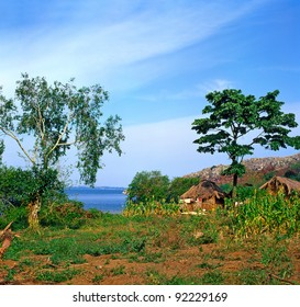 Village on the shores of Lake Victoria in Uganda, located in Buikwe District, East Africa