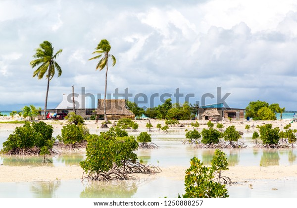 Village on South Tarawa atoll, Kiribati, Gilbert islands, Micronesia, Oceania. Thatched roof houses. Rural life on a sandy beach of remote paradise atoll island under palms and with mangroves around.
