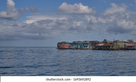 Village on the water on Guanaja island, archipelago Bay islands, Honduras