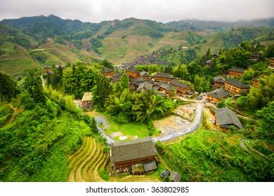 Village on Yaoshan Mountain in Guangxi, China.