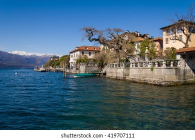 Village of Orta and the Island of San Giulio on Lake Orta, Piedmont,Italy