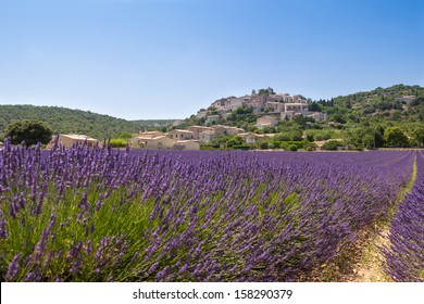Village over lavender field