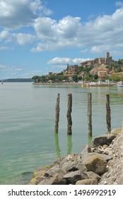 Village of Passignano sul Trasimeno at Lake Trasimeno,Umbria,Italy