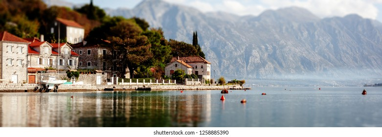 Village Perast on coast of Boka Kotor bay - Montenegro - nature and architecture background, popular travel destination in Europe