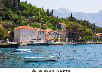 Village Perast on coast of Boka Kotor bay. Montenegro. Adriatic sea