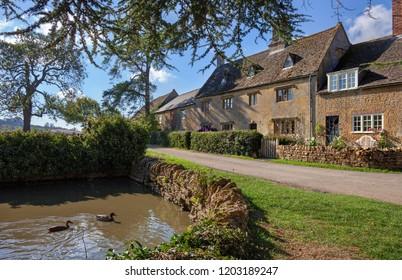 Village pond at Hidcote Bartrim, Cotswolds, Gloucestershire, England