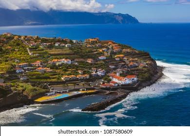Village Ponta Delgada in Madeira Portugal - travel background