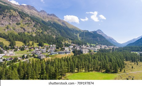 Village of Pontresina in Engadin, aerial view