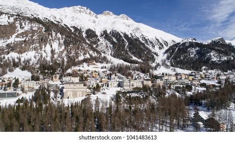 Village of Pontresina - Valley of Engadine in winter season