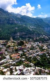 Village of Positano, villas nestled in the side of the mountain on the Mediterranean coastline.