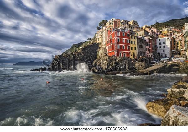 Village of Riomaggiore, Italy on the Cinque Terre