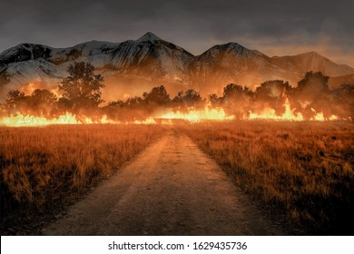 village road to a burning forest