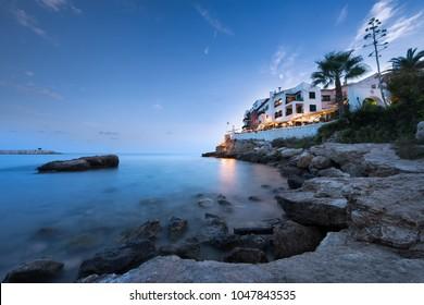 Village of Roc de Sant Gaieta in the blue hour