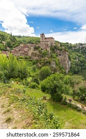 Village of Saint Circ Lapopie in France on a sunny day