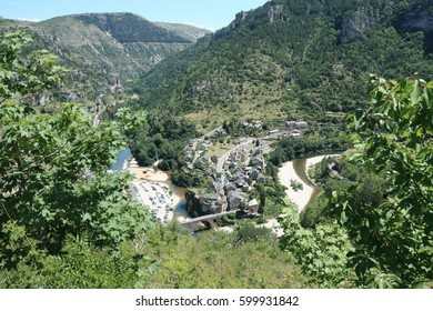 Village of Saint Enimie in Gorges du Tarn or Tarn canyon in France