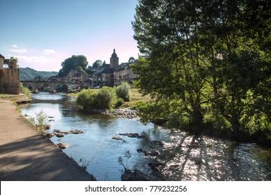 Village of Saint Geniez d' Olt , Valley of lot , Aveyron , French