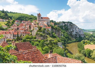 Village of Saint-Cirq-Lapopie in Lot department in France.